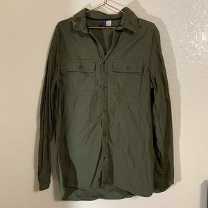 Divided Shirts - H&M Divided | Thick Green Cargo Button Down Shirt